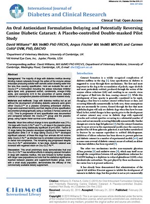 An Oral Antioxidant Formulation Delaying and Potentially Reversing Canine Diabetic Cataract: A Placebo-controlled Double-masked Pilot Study